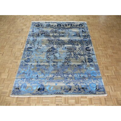 One-of-a-Kind Elbridge Modern Hand-Knotted Wool Gray/Blue Area Rug