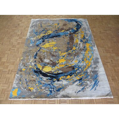 One-of-a-Kind Ziegler Modern Abstract Hand-Knotted Wool Black/Green Area Rug