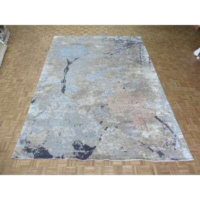 One-of-a-Kind Padang Sidempuan Modern Hand-Knotted Wool Sky Blue/Gray Area Rug Rug Size: Rectangle 8 x 102