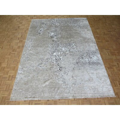 One-of-a-Kind Padang Sidempuan Modern Hand-Knotted Gray Area Rug Rug Size: Rectangle 9 x 12