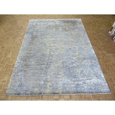 One-of-a-Kind Padang Sidempuan Modern Hand-Knotted Wool White/Blue Area Rug Rug Size: Rectangle 9 x 122