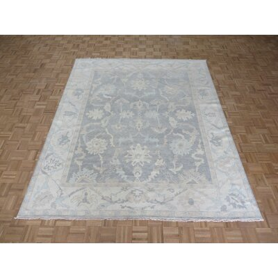 One-of-a-Kind Josephson Wash Turkish Oushak Hand-Knotted Silver Gray Area Rug