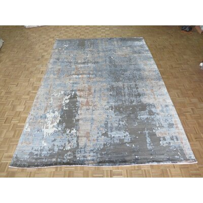 One-of-a-Kind Crest Lane Modern Abstract Hand-Knotted Brown/Gray Area Rug Rug Size: Rectangle 710 x 10