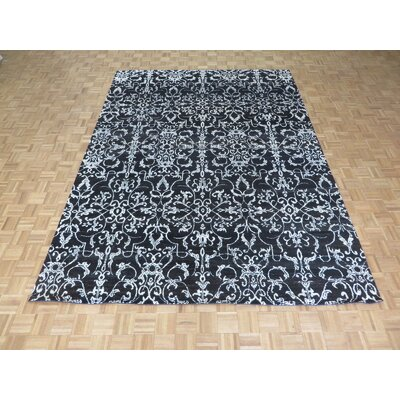 One-of-a-Kind Josephson Damask Hand-Knotted Black Area Rug