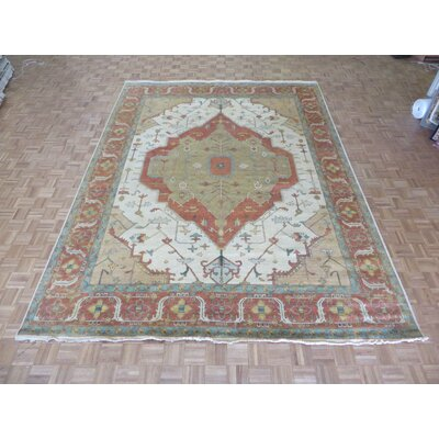 One-of-a-Kind Josephson Antiqued Serapi Heriz Hand-Knotted Wool Ivory Area Rug