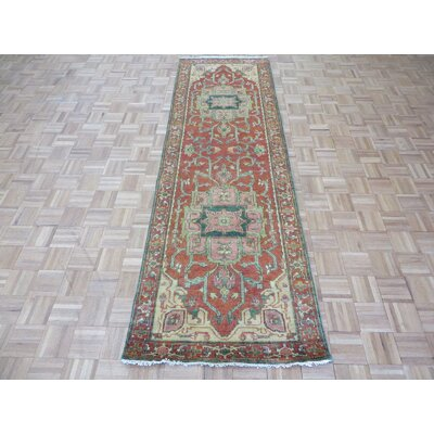 One-of-a-Kind Josephson Antiqued Serapi Heriz Hand-Knotted Wool Rust Orange Area Rug Rug Size: Runner 3 x 12