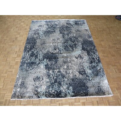 One-of-a-Kind Dickison Modern Abstract Hand-Knotted Wool Black Area Rug