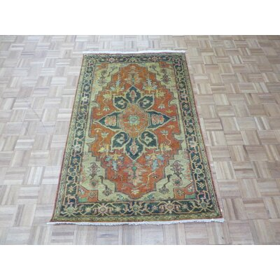 One-of-a-Kind Josephson Antiqued Serapi Heriz Hand-Knotted Wool Rust Orange Area Rug Rug Size: Rectangle 4 x 62