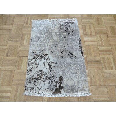 One-of-a-Kind Goree Modern Abstract Hand-Knotted Rayon from Bamboo Silk Gray Area Rug