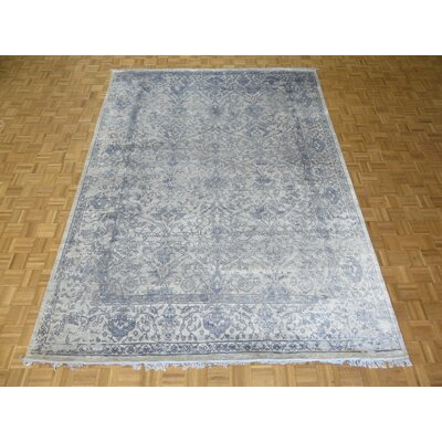 One-of-a-Kind Josephson Modern Hand-Knotted Rayon from Bamboo Silk Gray/Sky Blue Area Rug