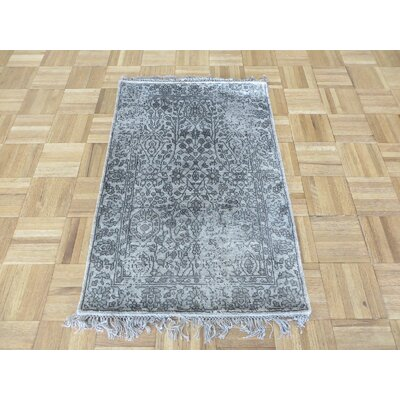 One-of-a-Kind Paden Hand-Knotted Rayon from Bamboo Silk Gray Area Rug