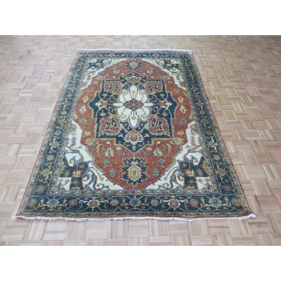 One-of-a-Kind Josephson Antiqued Serapi Heriz Hand-Knotted Rayon from Bamboo Silk Rust Orange Area Rug