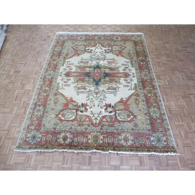 One-of-a-Kind Josephson Antiqued Serapi Heriz Hand-Knotted Ivory Area Rug