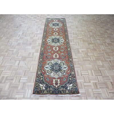 One-of-a-Kind Josephson Antiqued Serapi Heriz Hand-Knotted Wool Orange Area Rug