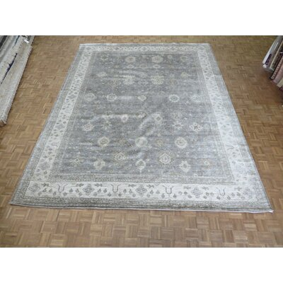 One-of-a-Kind Josephson Soft Oushak Hand-Knotted Wool Gray/Soft Blue Area Rug