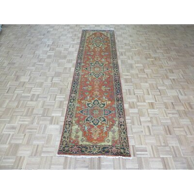 One-of-a-Kind Josephson Antiqued Serapi Heriz Hand-Knotted Wool Rust Orange Area Rug