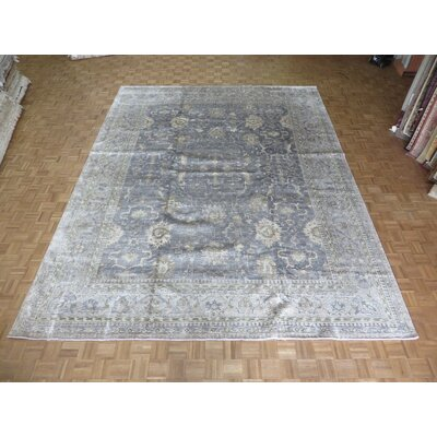 One-of-a-Kind Josephson Oushak Hand-Knotted Wool Silver/Blue Area Rug