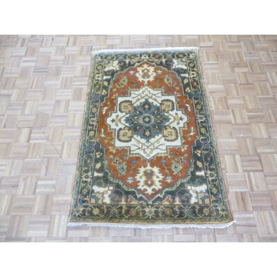 One-of-a-Kind Sherika Serapi Heriz Antiqued Hand-Knotted Wool Rust Red Area Rug