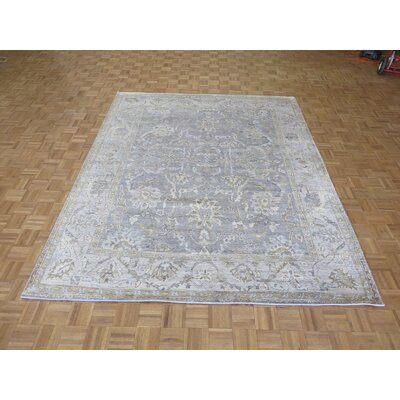 One-of-a-Kind Josephson Grayish Oushak Ushak Hand-Knotted Wool Grayish/Blue Area Rug