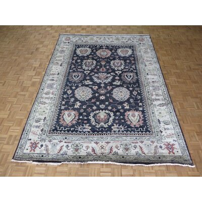 One-of-a-Kind Josephson Oushak Hand-Knotted Silk Navy Blue Area Rug