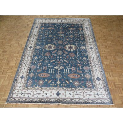 One-of-a-Kind Josephson Oushak Hand-Knotted Silk Denim Blue Area Rug