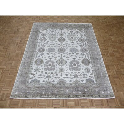 One-of-a-Kind Josephson Oushak Ushak Hand-Knotted Silk Ivory/Gray Area Rug