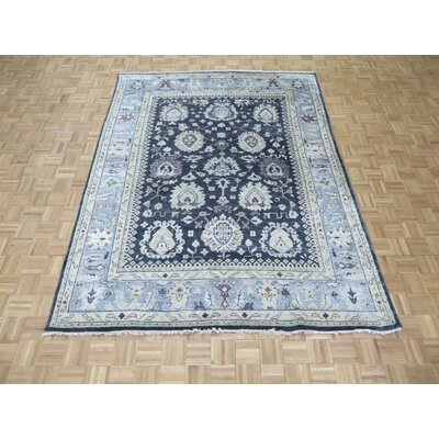 One-of-a-Kind Josephson Oushak Hand-Knotted Silk Navy/Sky Blue Area Rug