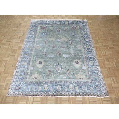 One-of-a-Kind Josephson Sage Oushak Hand-Knotted Silk Sage Green Area Rug