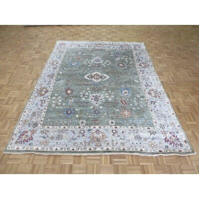 One-of-a-Kind Josephson Oushak Hand-Knotted Silk Sage Green Area Rug