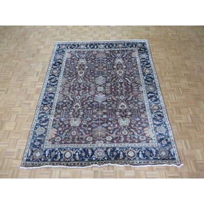 One-of-a-Kind Josephson Antiqued Oushak Hand-Knotted Silk Rust Brown Area Rug