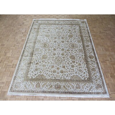 One-of-a-Kind Josephson Hand-Knotted Silk Ivory Area Rug