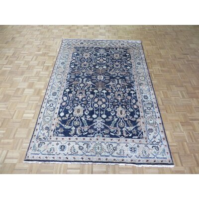One-of-a-Kind Josephson Antiqued Oushak Hand-Knotted Silk Navy Blue Area Rug