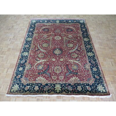 One-of-a-Kind Rainbolt Hand-Knotted Silk Rust Red/Navy Blue Area Rug