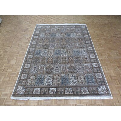 One-of-a-Kind Rainville Hand-Knotted White/Black Area Rug