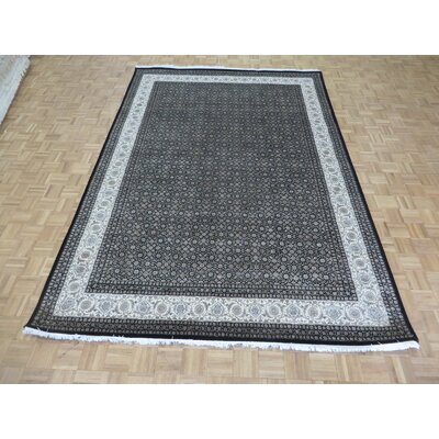 One-of-a-Kind Josephson Herati Hand-Knotted Wool Black Area Rug Rug Size: Rectangle 101 x 103