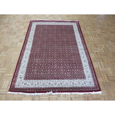 One-of-a-Kind Josephson Herati Hand-Knotted Silk Red Area Rug