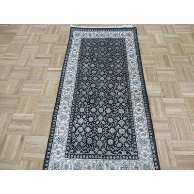One-of-a-Kind Sherika Herati Hand-Knotted Silk Black Area Rug Rug Size: Runner 28 x 159