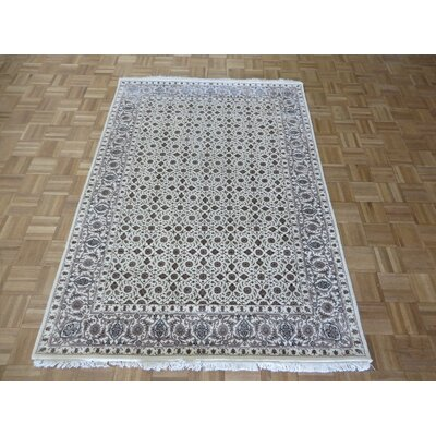One-of-a-Kind Sherika Herati Hand-Knotted Ivory Area Rug Rug Size: Rectangle 4 x 6