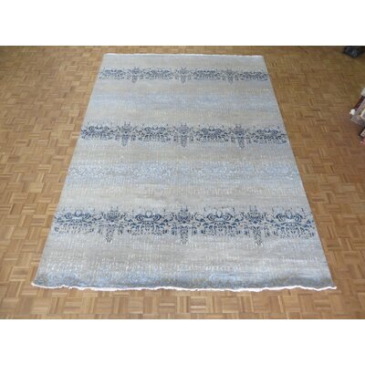 One-of-a-Kind Pasuruan Modern Abstract Hand-Knotted Wool Beige/Blue Area Rug