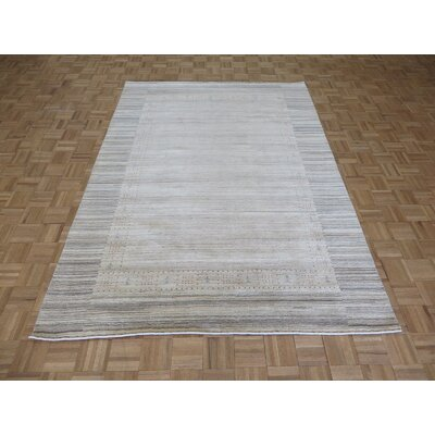 One-of-a-Kind Cornerstone Modern Hand-Knotted Wool Beige Area Rug