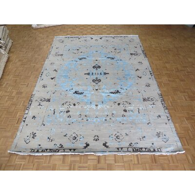 One-of-a-Kind Pellegrino Modern Abstract Hand-Knotted Silk Sky Blue/Gray Area Rug