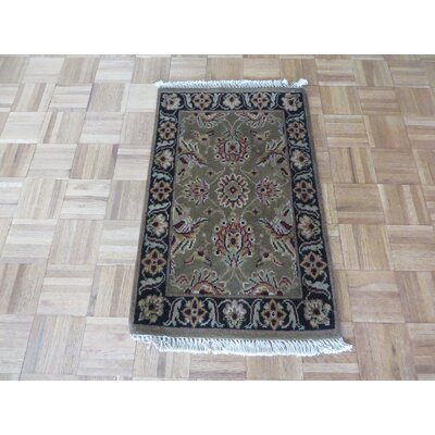 One-of-a-Kind Railey Hand-Knotted Wool Sage Green Area Rug