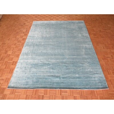 One-of-a-Kind Cisneros Hand-Knotted Wool Sky Blue Area Rug