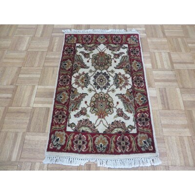 One-of-a-Kind Railey Hand-Knotted Ivory/Red Area Rug