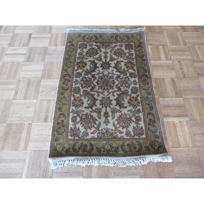 One-of-a-Kind Rhyne Hand-Knotted Ivory/Gold Area Rug