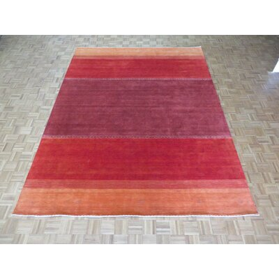 One-of-a-Kind Cornerstone Modern Hand-Knotted Wool Red Area Rug