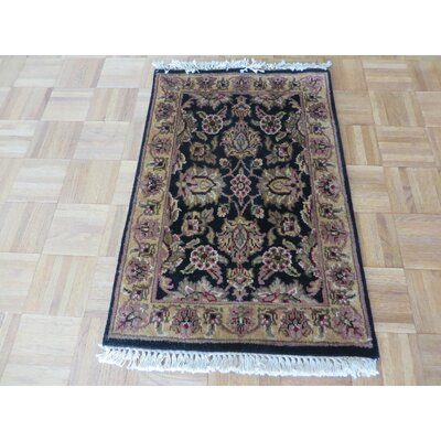 One-of-a-Kind Railey Hand-Knotted Wool Black/Gold Area Rug
