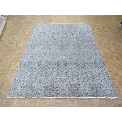 One-of-a-Kind Railsback Ikat Hand-Knotted Silk Silver Beige Area Rug