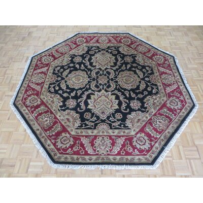 One-of-a-Kind Railey Octagon Hand-Knotted Wool Black Area Rug