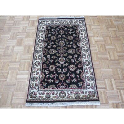One-of-a-Kind Railey Hand-Knotted Black Area Rug